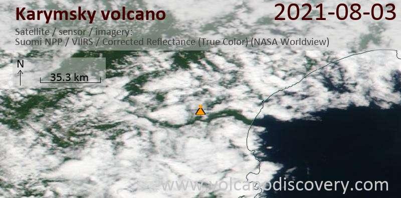 Спутниковое изображение вулкана Karymsky  4 Aug 2021