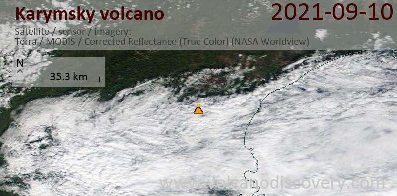 Satellite image of Karymsky volcano on 10 Sep 2021