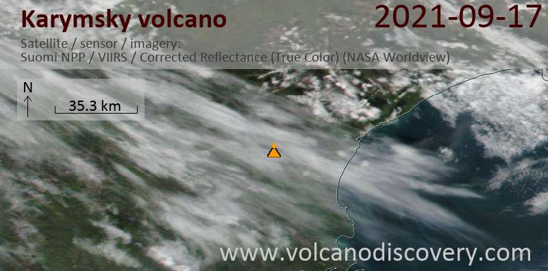 Satellite image of Karymsky volcano on 18 Sep 2021