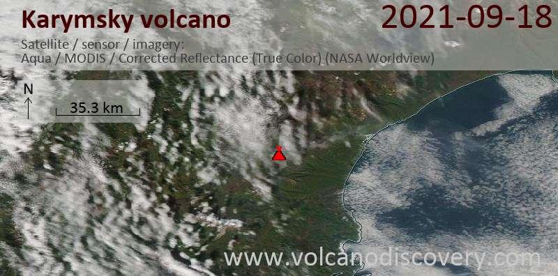 Satellite image of Karymsky volcano on 19 Sep 2021
