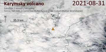 Satellite image of Karymsky volcano on  1 Sep 2021