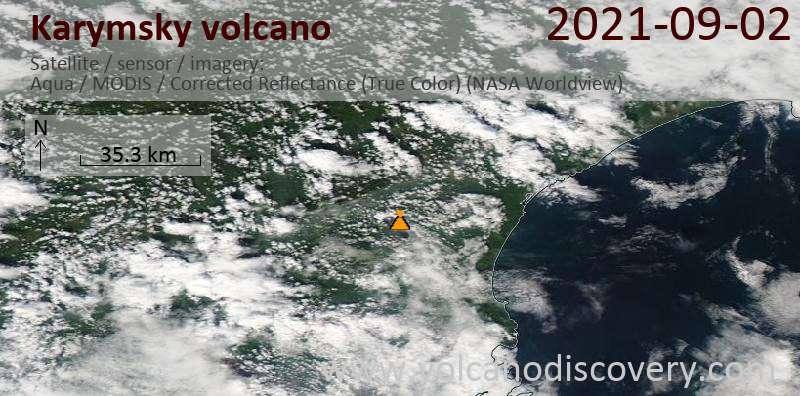 Satellite image of Karymsky volcano on  2 Sep 2021