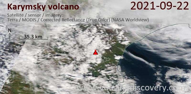 Спутниковое изображение вулкана Karymsky 23 Sep 2021