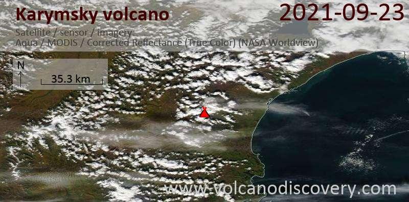 Спутниковое изображение вулкана Karymsky 24 Sep 2021