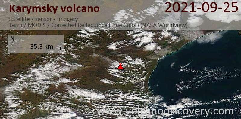 Satellitenbild des Karymsky Vulkans am 25 Sep 2021