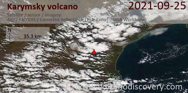 Satellitenbild des Karymsky Vulkans am 26 Sep 2021