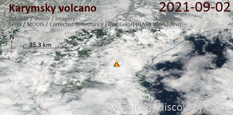 Satellite image of Karymsky volcano on  3 Sep 2021
