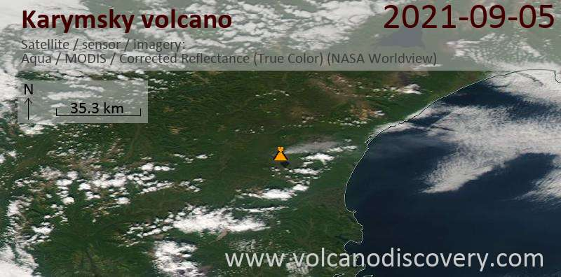 Satellitenbild des Karymsky Vulkans am  6 Sep 2021