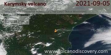 Satellite image of Karymsky volcano on  7 Sep 2021