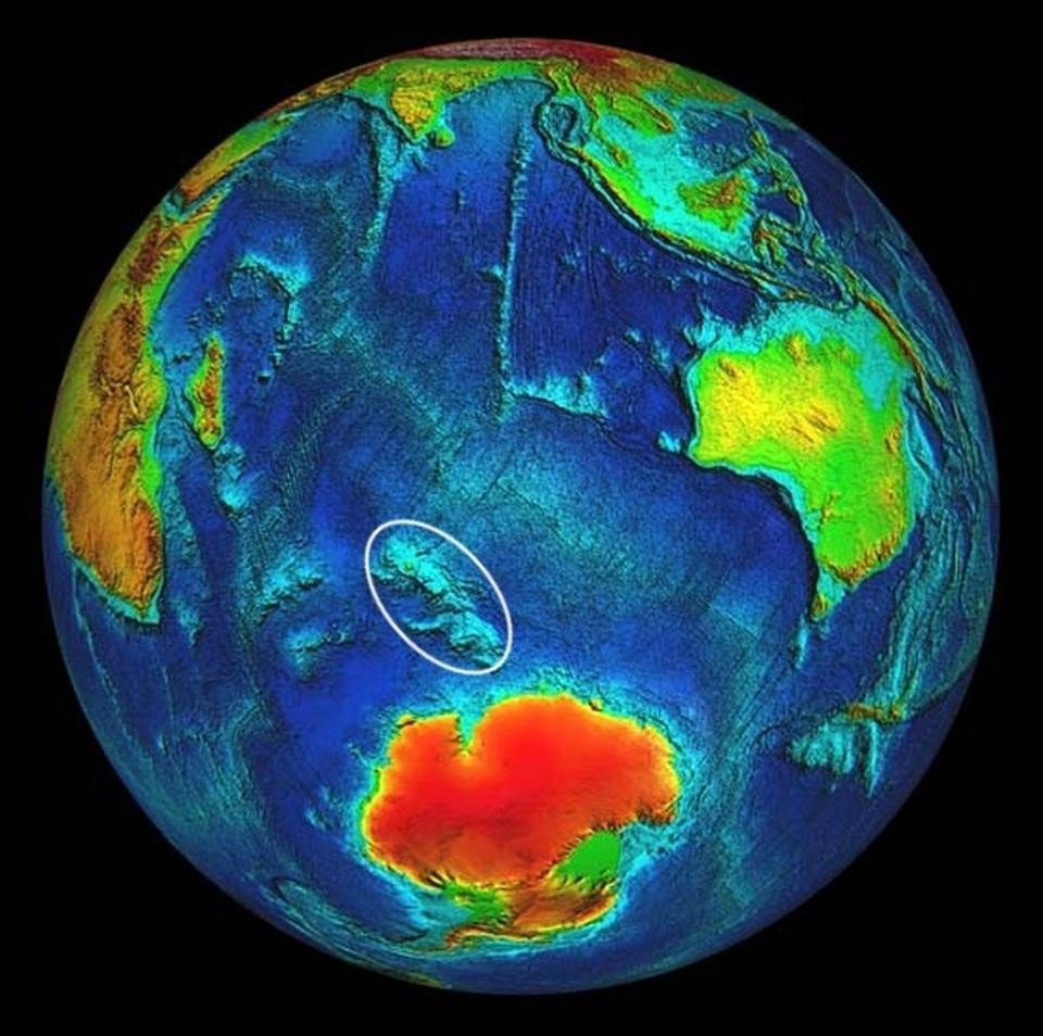 The Kerguelen Plateau in the Indian Ocean is the world's longest continuously erupting supervolcano dating back into the Cretaceous (Image: National Geophysical Data Center).