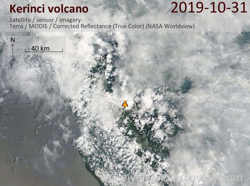 Satellite image of Kerinci volcano on 31 Oct 2019