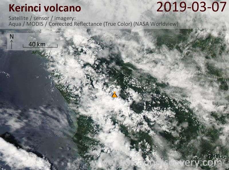 Satellite image of Kerinci volcano on  7 Mar 2019