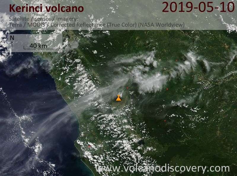 Satellite image of Kerinci volcano on 10 May 2019