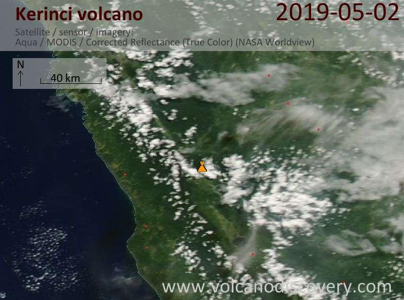Satellite image of Kerinci volcano on  2 May 2019