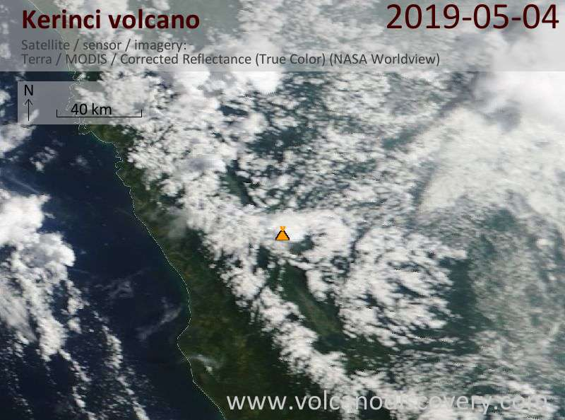 Satellite image of Kerinci volcano on  4 May 2019