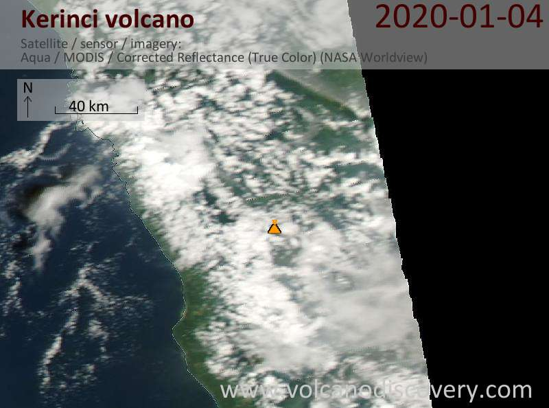 Satellite image of Kerinci volcano on  5 Jan 2020