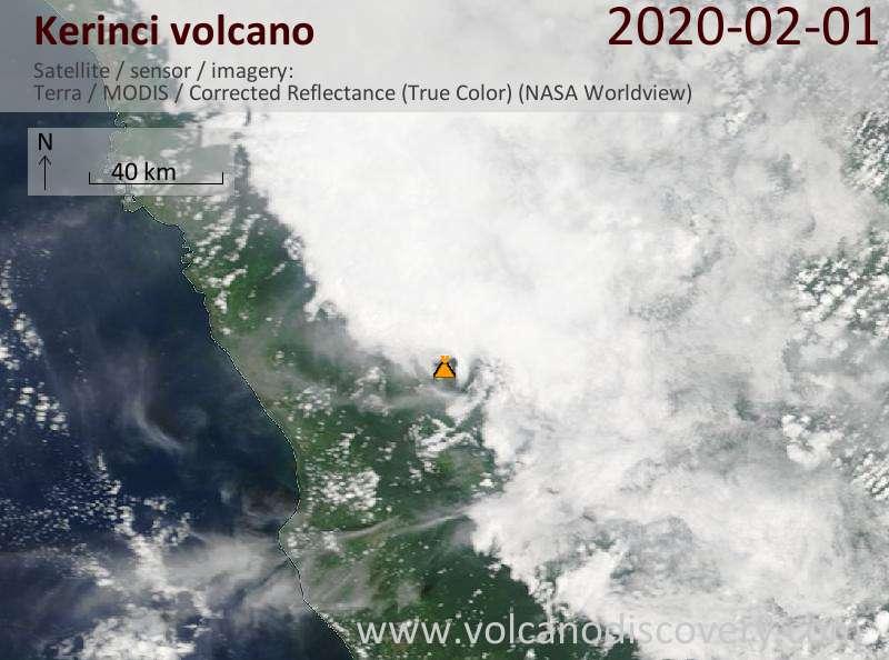 Satellite image of Kerinci volcano on  1 Feb 2020