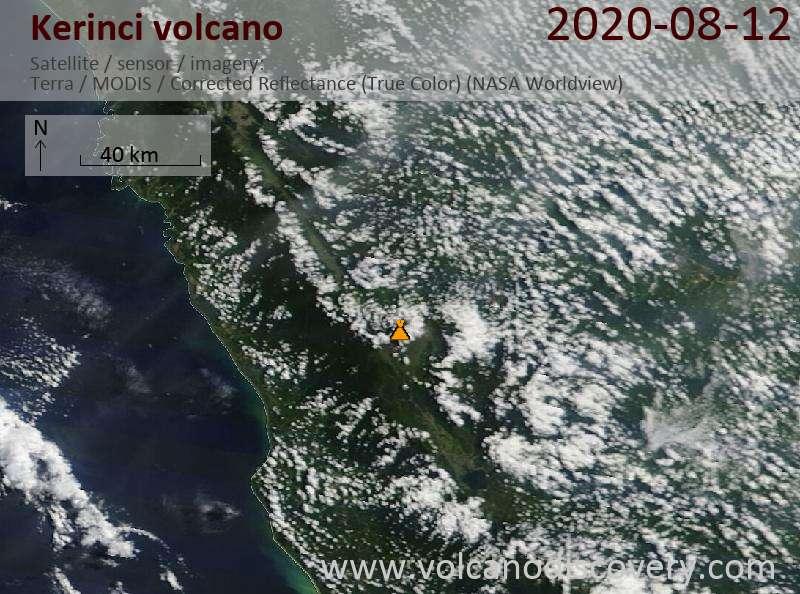 Satellite image of Kerinci volcano on 12 Aug 2020