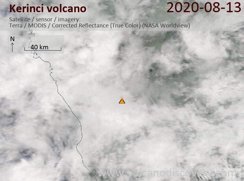 Satellitenbild des Kerinci Vulkans am 13 Aug 2020