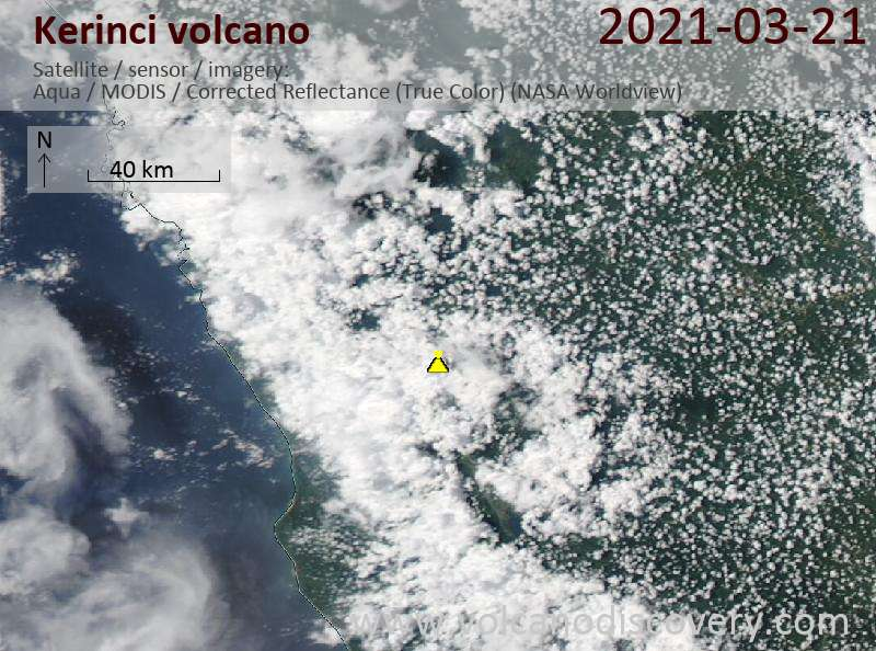 Satellite image of Kerinci volcano on 22 Mar 2021