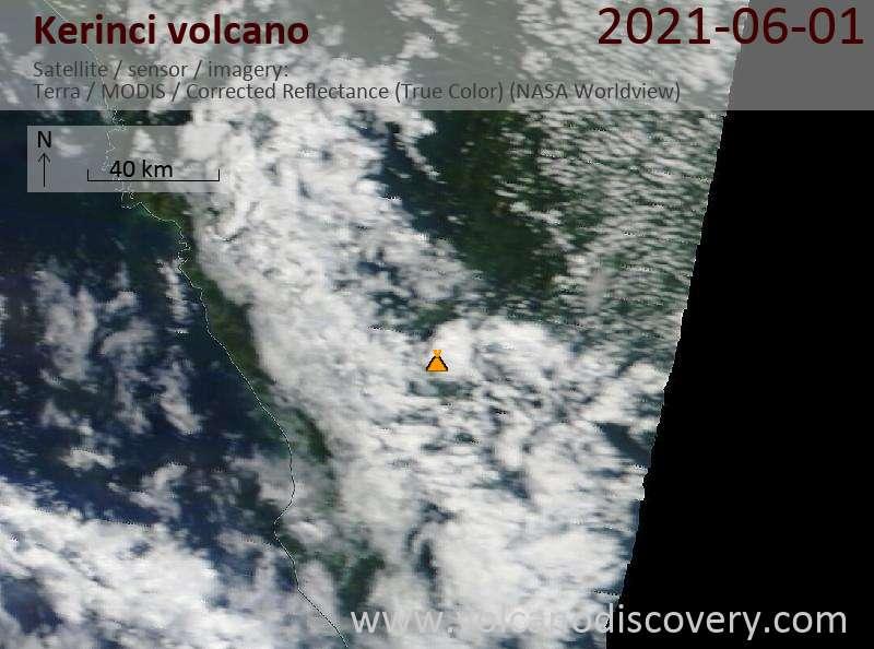 Satellite image of Kerinci volcano on 30 May 2021