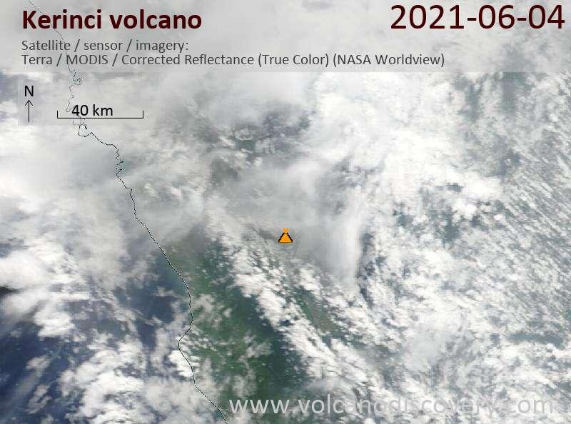 Satellite image of Kerinci volcano on  5 Jun 2021