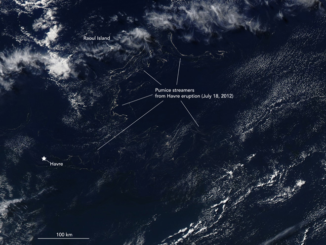 The streamers of pumice (likely each less than a few kilometers across) from the July 18, 2012 eruption of Havre seamount spreading across the Pacific Ocean. The pumice has spread over an area of over 250,00 square kilometers in a little over one month. Image taken August 19, 2012, courtesy of NASA and R. Simmon, annotations by E. Klemetti / Eruptions Blog