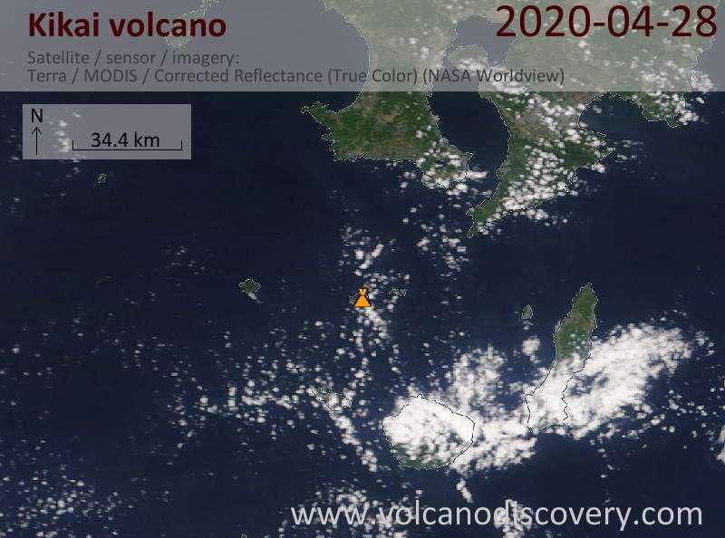 Satellite image of Kikai volcano on 28 Apr 2020