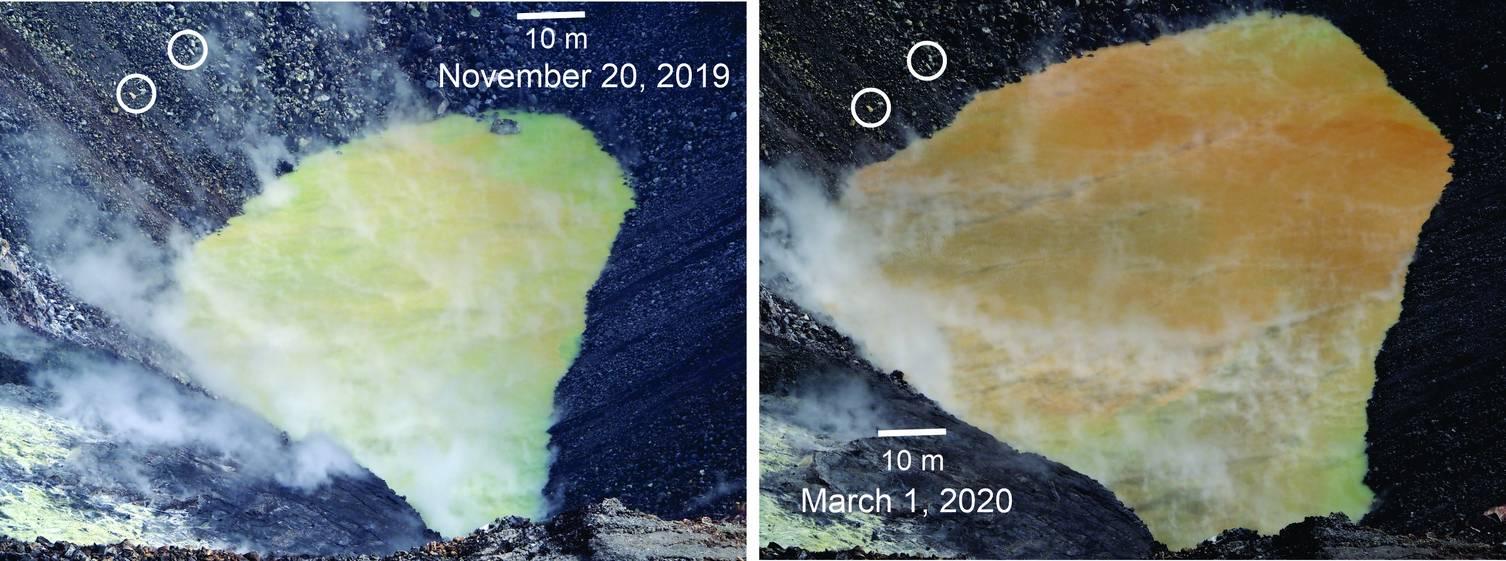 The growth of the water pond at Halema'uma'u (C) U.S, Geological Survey
