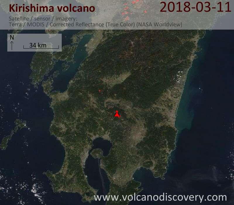 Satellite image of Kirishima volcano on 11 Mar 2018