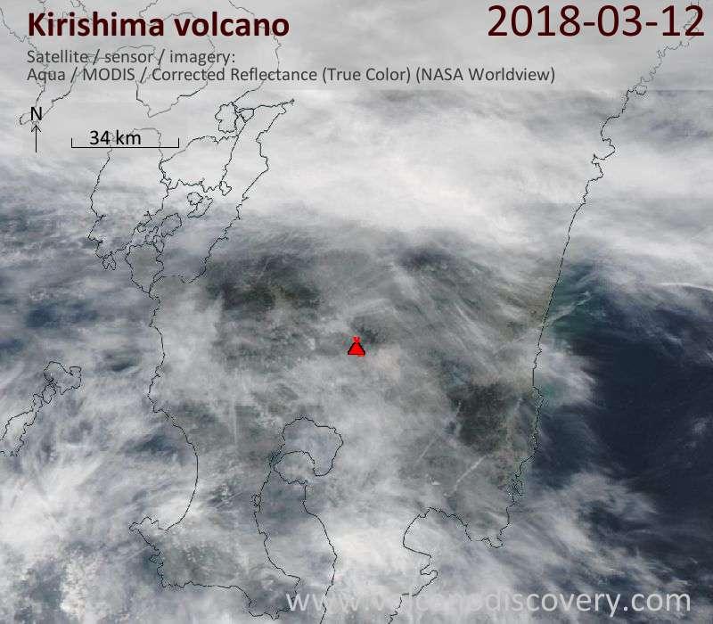 Satellite image of Kirishima volcano on 12 Mar 2018