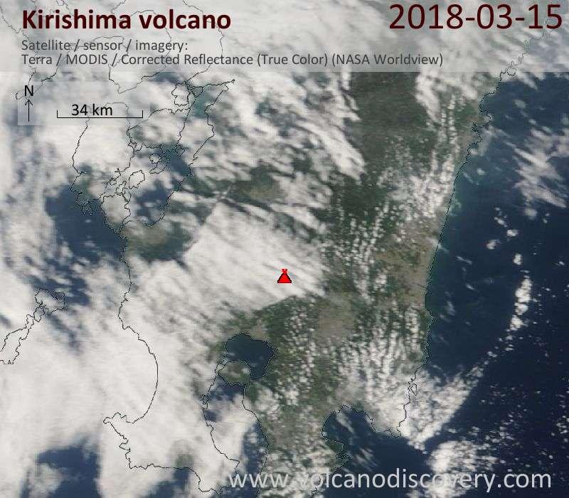 Satellite image of Kirishima volcano on 15 Mar 2018