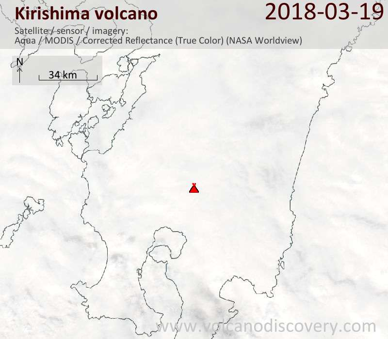Satellite image of Kirishima volcano on 19 Mar 2018