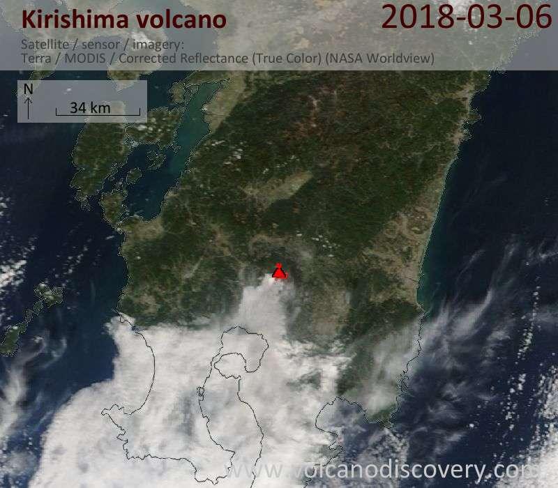 Satellite image of Kirishima volcano on  6 Mar 2018