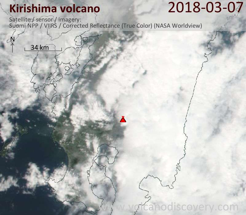 Satellite image of Kirishima volcano on  7 Mar 2018