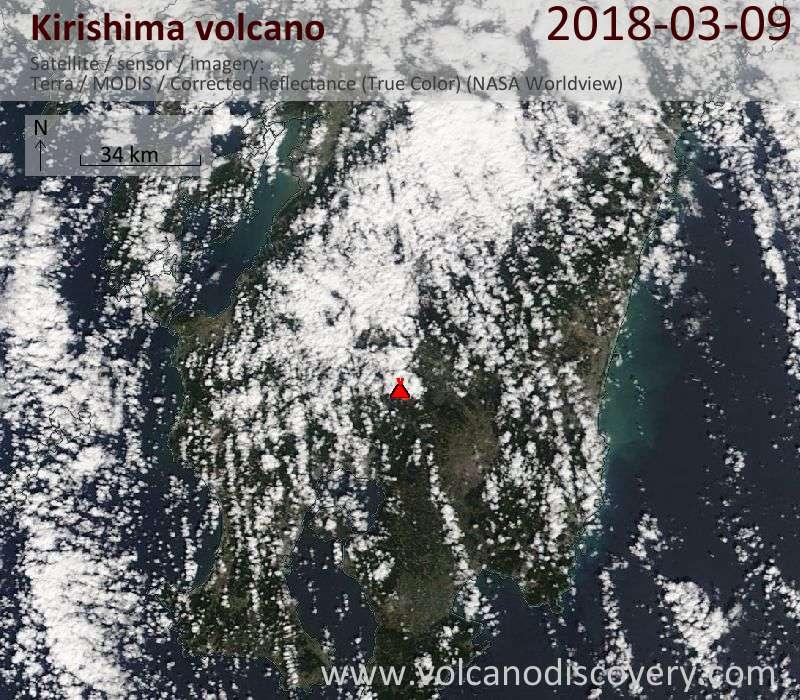 Satellite image of Kirishima volcano on  9 Mar 2018