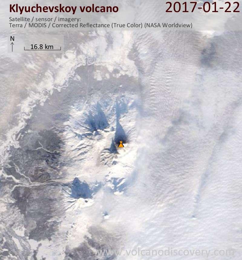 Satellite image of Klyuchevskoy volcano on 22 Jan 2017