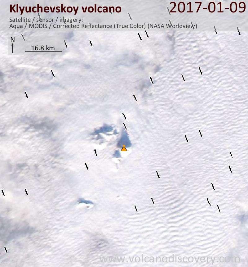 Satellite image of Klyuchevskoy volcano on  9 Jan 2017