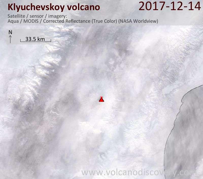 Satellite image of Klyuchevskoy volcano on 14 Dec 2017