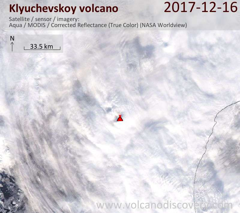 Satellite image of Klyuchevskoy volcano on 16 Dec 2017