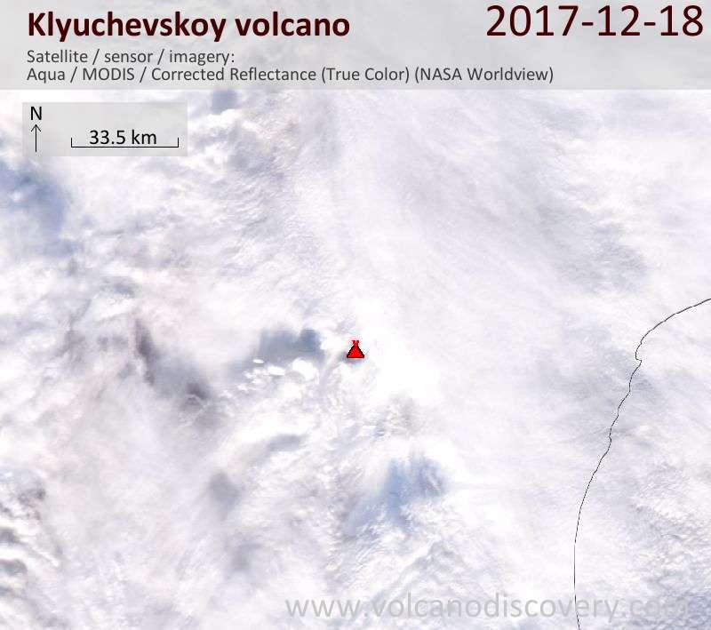 Satellite image of Klyuchevskoy volcano on 18 Dec 2017