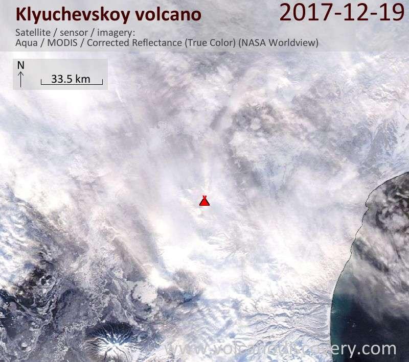 Satellite image of Klyuchevskoy volcano on 19 Dec 2017