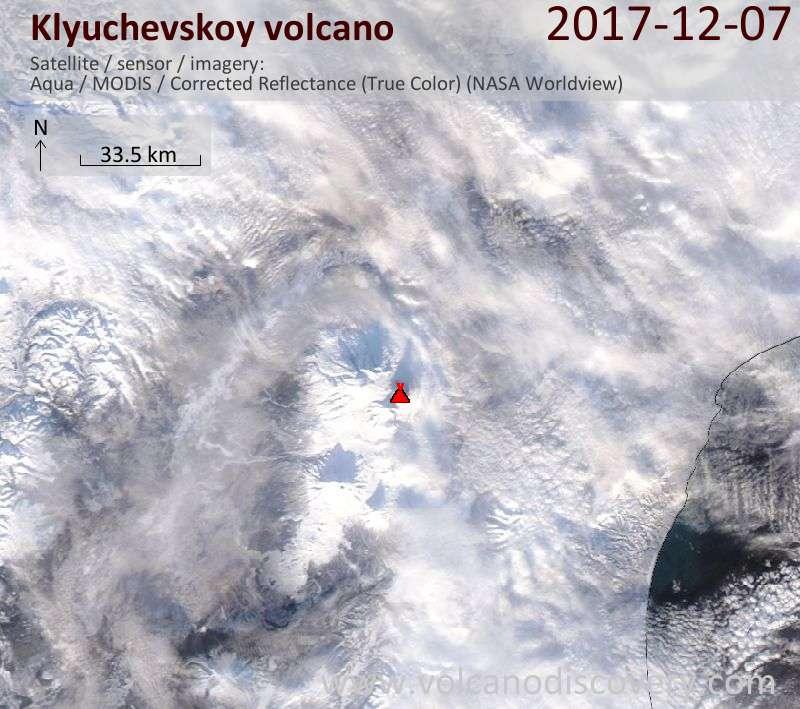 Satellite image of Klyuchevskoy volcano on  8 Dec 2017