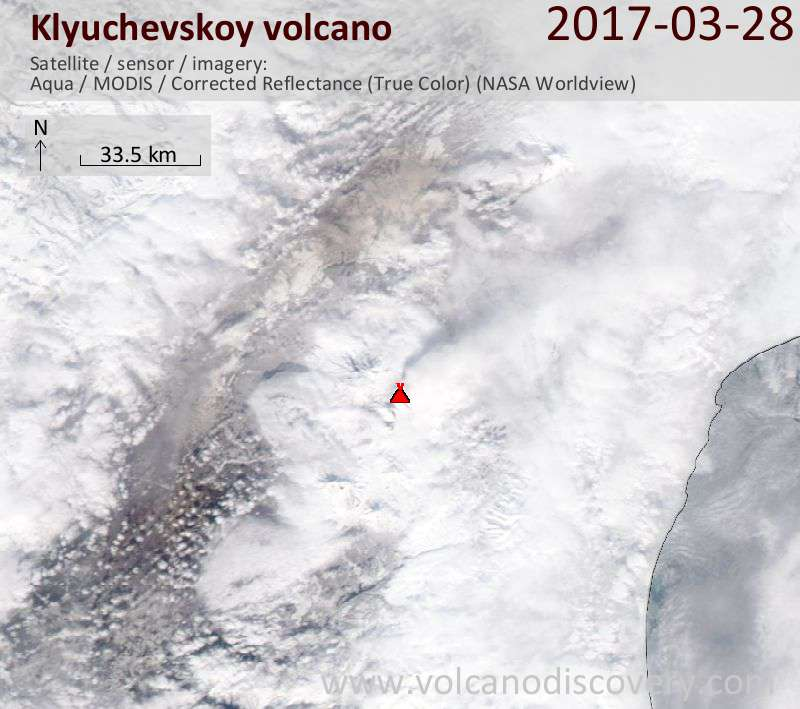 Satellite image of Klyuchevskoy volcano on 28 Mar 2017