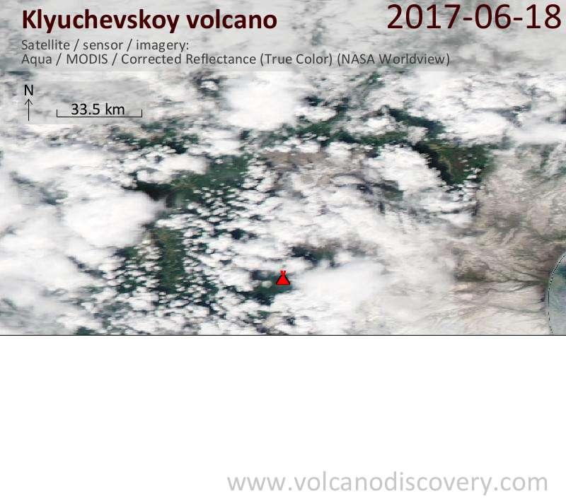 Satellite image of Klyuchevskoy volcano on 18 Jun 2017
