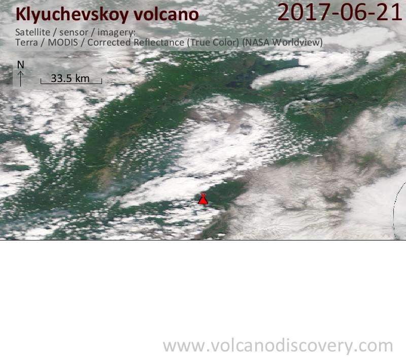 Satellite image of Klyuchevskoy volcano on 21 Jun 2017