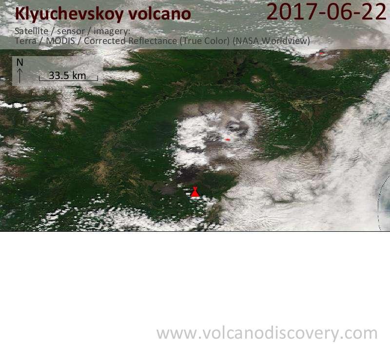 Satellite image of Klyuchevskoy volcano on 22 Jun 2017