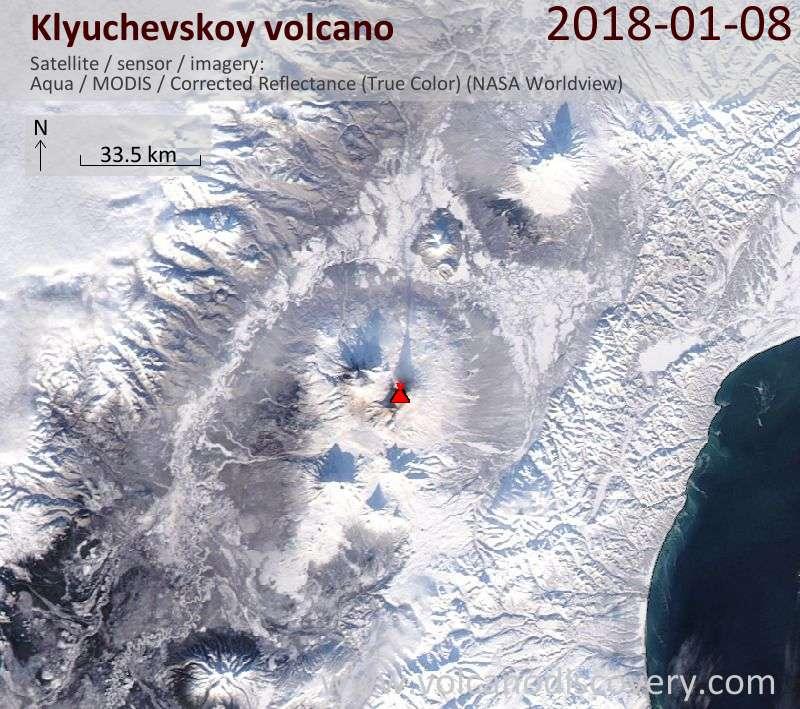 Satellite image of Klyuchevskoy volcano on  8 Jan 2018