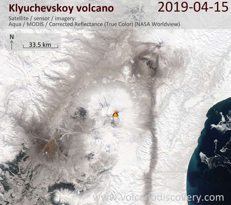 Satellite image of Klyuchevskoy volcano on 15 Apr 2019