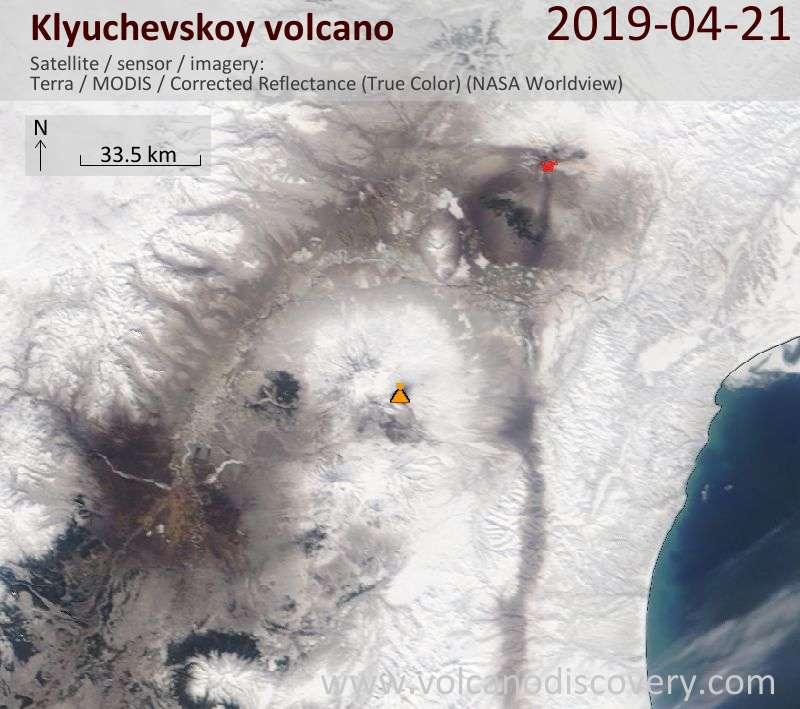 Satellitenbild des Klyuchevskoy Vulkans am 21 Apr 2019